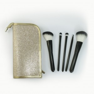 5-pieces Makeup Brush Set with golden mesh pouch