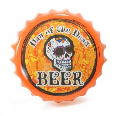 Stylish bottle cap wall mount sign (orange)
